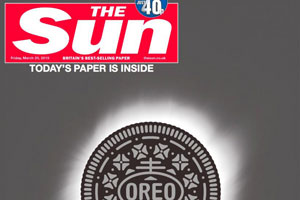 The Oreo cover wrap, eclipsing The Sun's front page