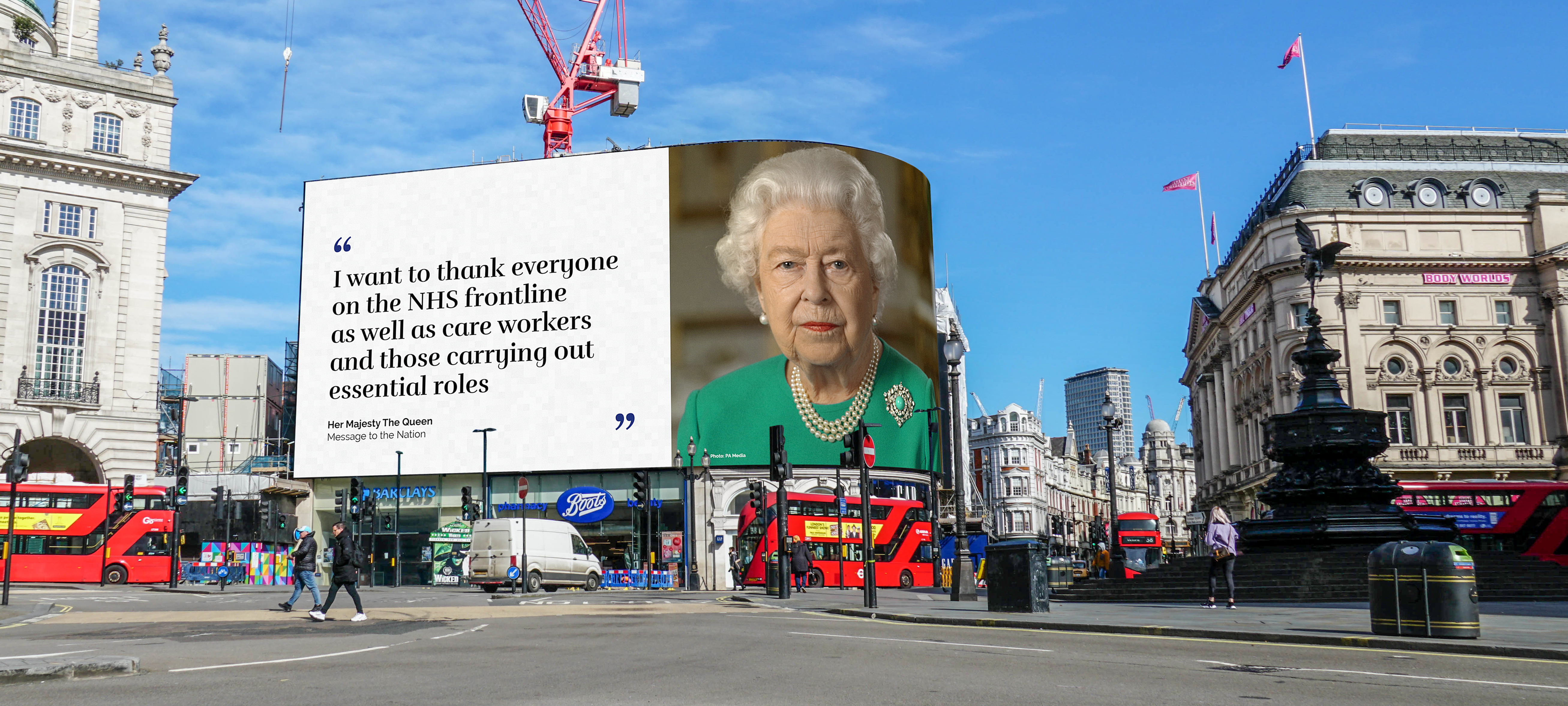 Piccadilly Lights: ads follow the Queen's speech on Covid-19