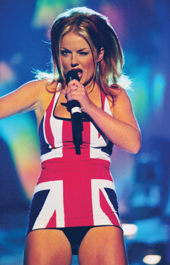 'Ginger Spice' on stage at 1997 Brit Awards