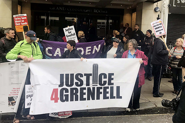 Protesters gather for the start of the inquiry (pic credit: Jack Hardy/PA Wire/PA Image)
