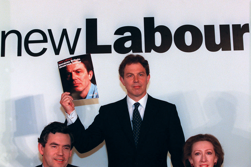 Gordon Brown, Tony Blair and Margaret Beckett launch the Labour manifesto for the 1997 general election