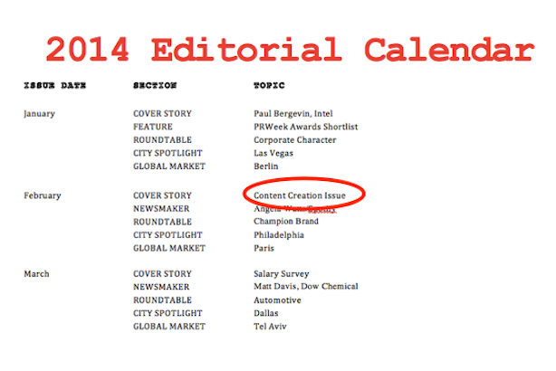 PRWeek Editorial Calendar (for the purpose of illustration only)