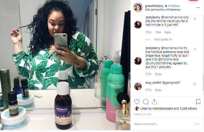 Grace Victory Instagram post, with the Benenox supplement prominently displayed