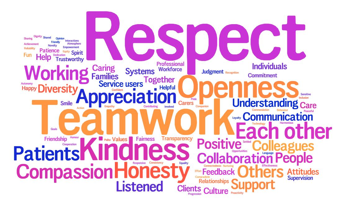 Word cloud showing what the Trust's staff, patients and carers value the most