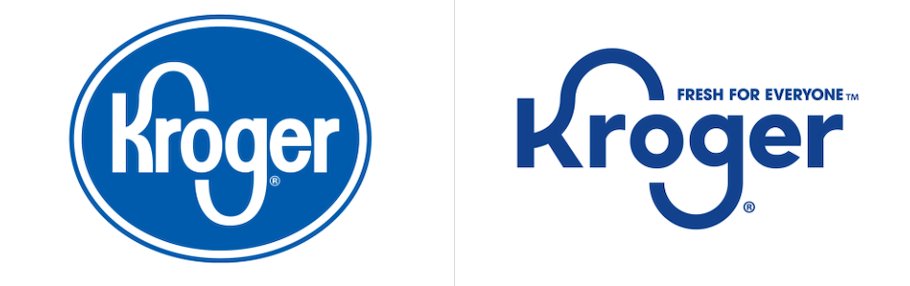 old and new Kroger logos