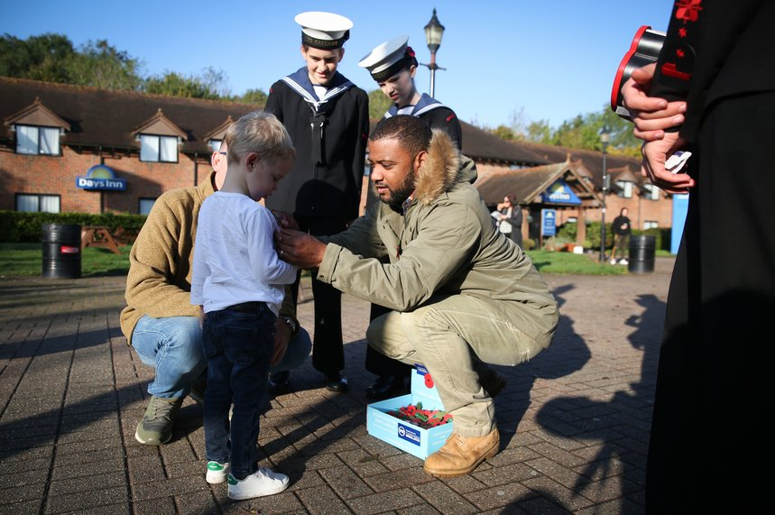 Former JLS member and TV presenter JB Gill with poppy collectors in Kent