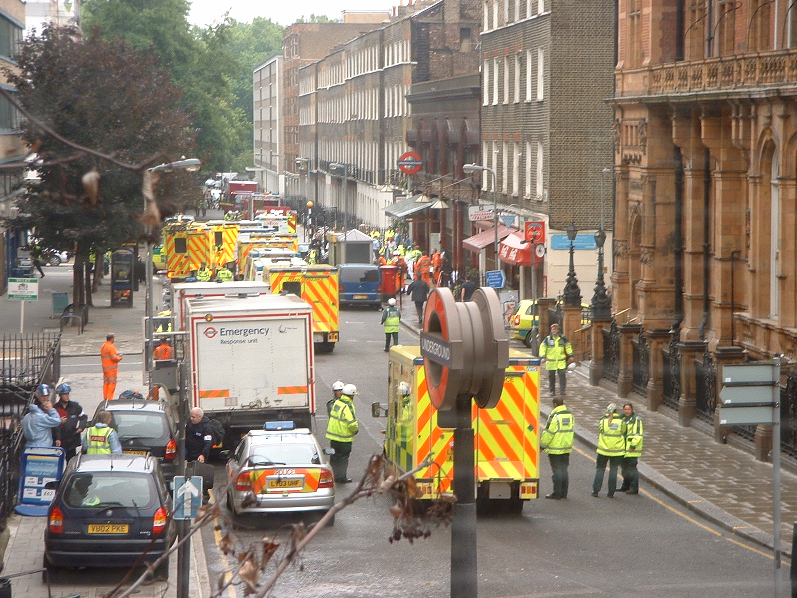 Russell Square, London, in the aftermath of the 7/7 bombings