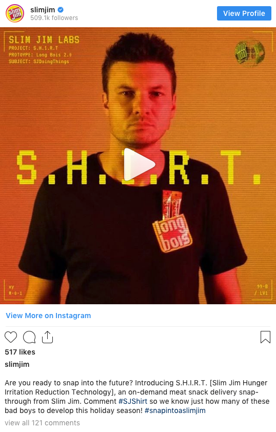 post from Slim Jim's Instagram account
