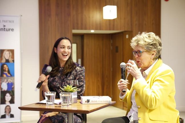 MT's Kate Bassett interviews Prue over a glass of wine at Inspiring Women London