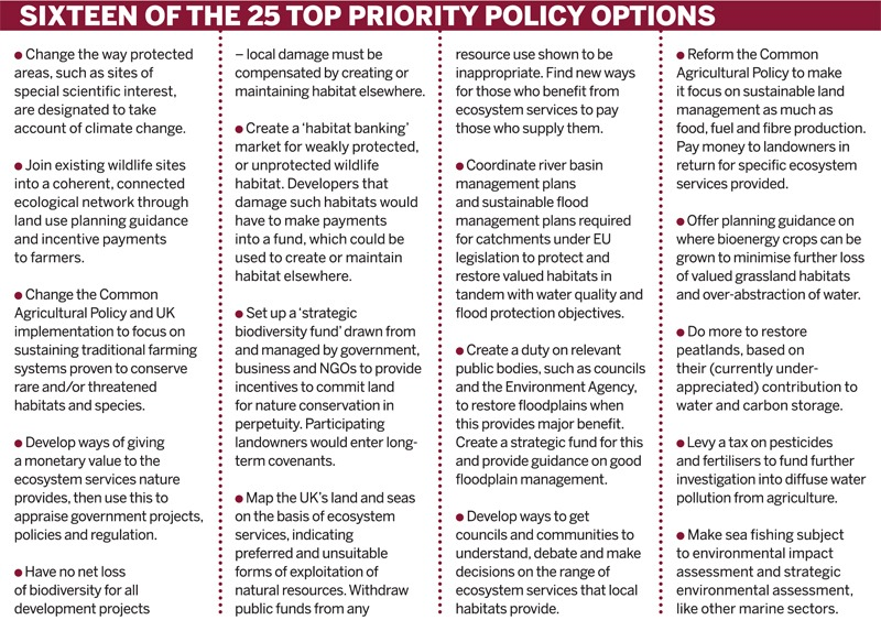 Sixteen of the 25 top priority policy options