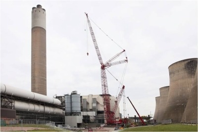 A giant crane is being used to retrofit selective catalytic reduction at Eon's Ratcliffe-on-Soar plant