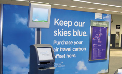 San Francisco International Airport's 'Climate Passport' initiative allows passengers to offset their flights using a touch screen