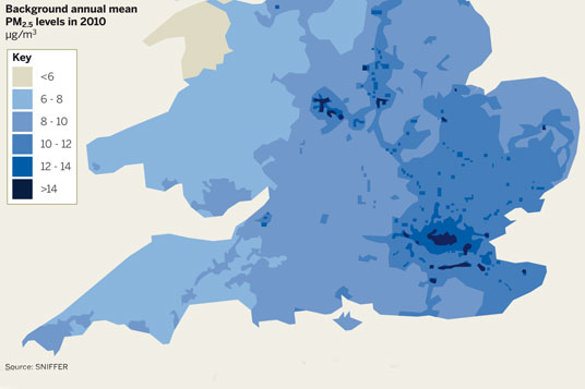 PM2.5 concentrations are highest in south east England