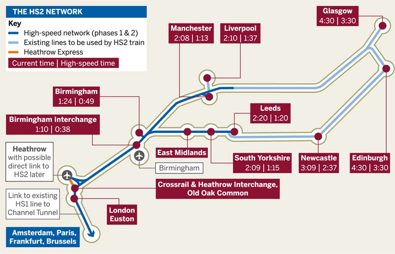 Map of the proposed HS2 network