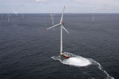The Horns Rev windfarm off the Danish coast. Could the UK lose its lead in offshore wind if it implemented the CCC recommendations? Credit: Vattenfall