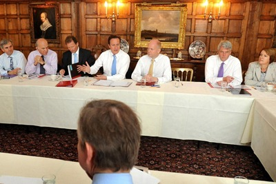 Most of the cabinet's big hitters, in terms of environmental impact, are in this photograph, taken at Chequers last July: energy and climate secetary Chirs Huhne, busienss secretary Vince Cable, David Cameron and environmnet secretary Caroline Spelman (cr