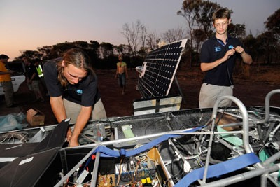 Cambridge University students in the World Solar Challenge: engineering and technology skills are needed to create a sustainable UK (credit: Idealink Photography/Alamy)