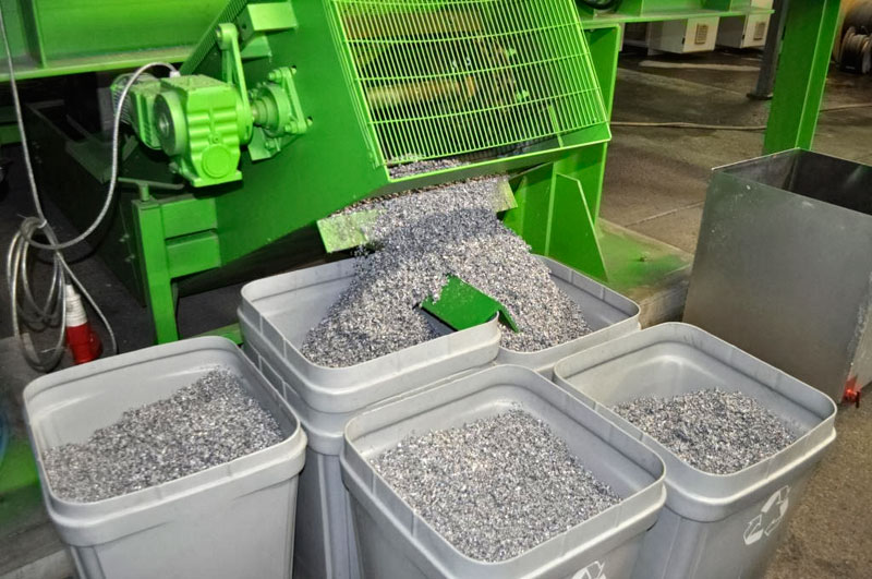 A Kent WEEE recycler is the first to use a furnace that produces lead and glass aggregate from old cathay ray tube screens (photograph: SWEEP Kuusakoski)