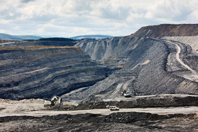 Open-cast mine in Scotland (photograph: RGB Ventures LLC DBA Superstock/Alamy)