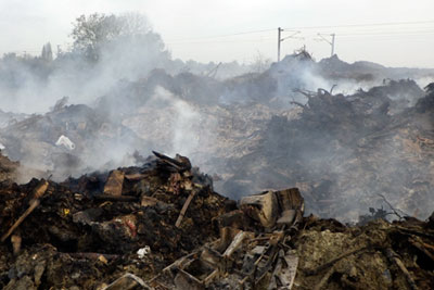 Investigations found copper, lead and zinc levels in the bonfire's ash were significantly higher than the background soil levels for England and Wales (photograph: Environment Agency