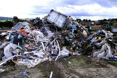 Construction and demolition waste, including plasterboard and asbestos, had been deposited at West Musgrave farm without a permit (photograph: Environment Agency)