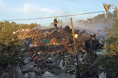 A fire at Averies Recycling facility in Swindon raged last year (photograph: Wiltshire Fire & Rescue Service)