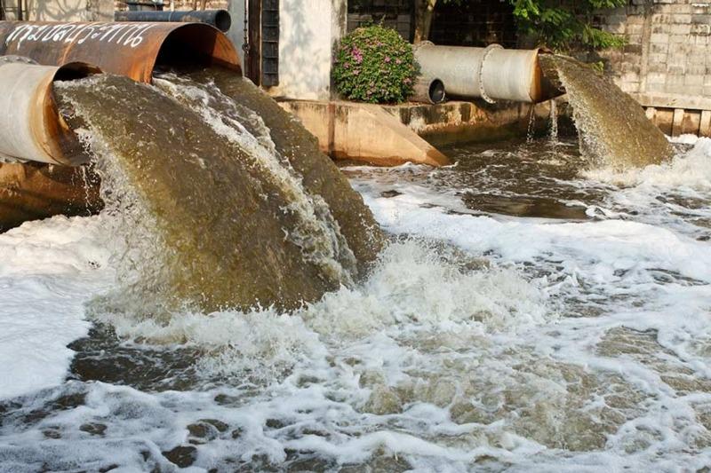 Pollution into a river