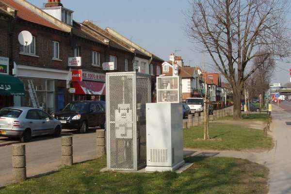 The London Borough of Ealing installed this station to monitor air quality around the Horn Lane industrial park. Photograph: David Hawgood CC BY_SA 2.0