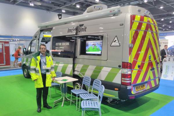 James Winbolt in front of one of the new incident response units. Photograph: Gareth Simkins