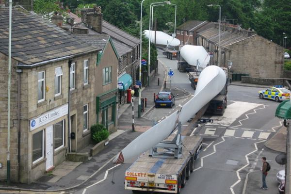 Wind turbine blades passing through an English village. Photograph: Paul Anderson CC BY-SA 2.0