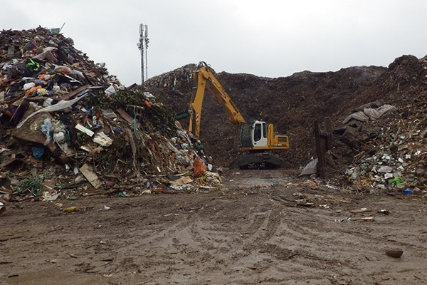 The waste was stacked 10 metres high in contravention of the company's permit. Photograph: Environment Agency