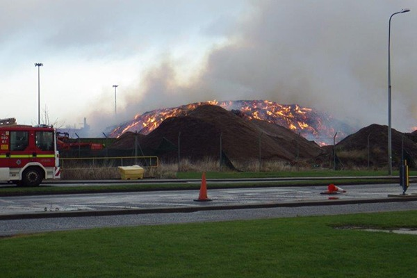 The 2013 fire at the site. Photograph: Environment Agency