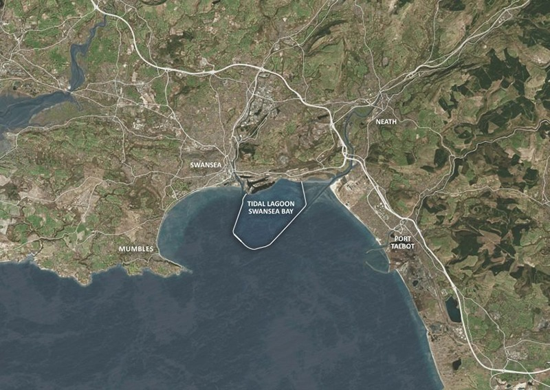 Map of Swansea Bay tidal lagoon