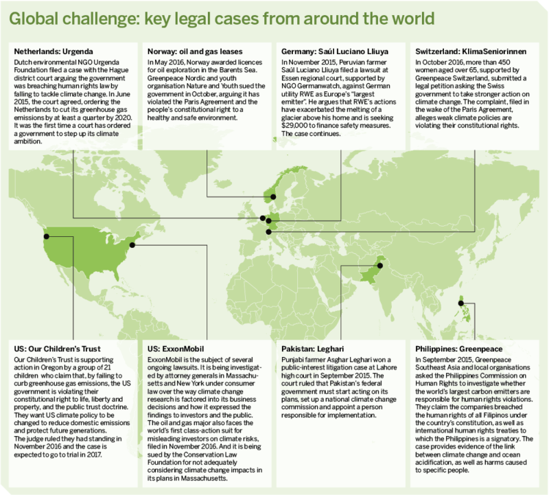 Map: Global challenge: key legal cases from around the world