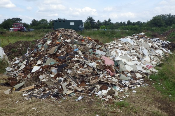 EA officers found significant quantities of waste at the site. Photograph: Environment Agency