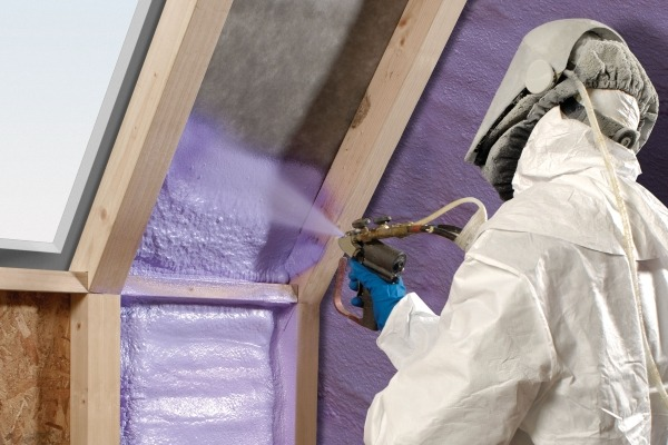 Spraying insulation is one way to improve the energy efficiency of homes. Photograph: Cdpweb161 CC BY-SA 3.0