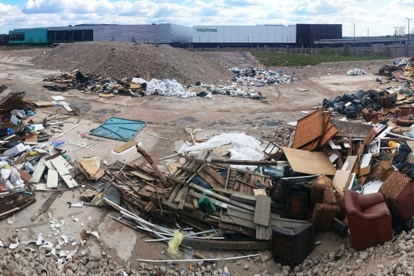 This is just some of the waste dumped at a demolished sports centre. Photograph: Waste Partnership for Buckinghamshire