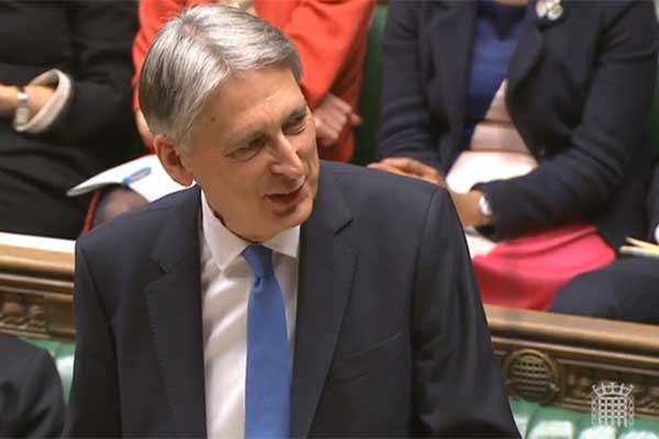 Chancellor of the Exchequer Philip Hammond delivers Autumn Budget 2017. Photograph: Parliament TV