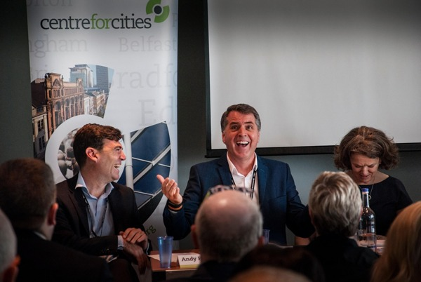 Andy Street, mayor of Greater Manchester, and Steve Rotherham, mayor of the Liverpool City Region at Centre for Cities conference in September. Photograph: Alamy