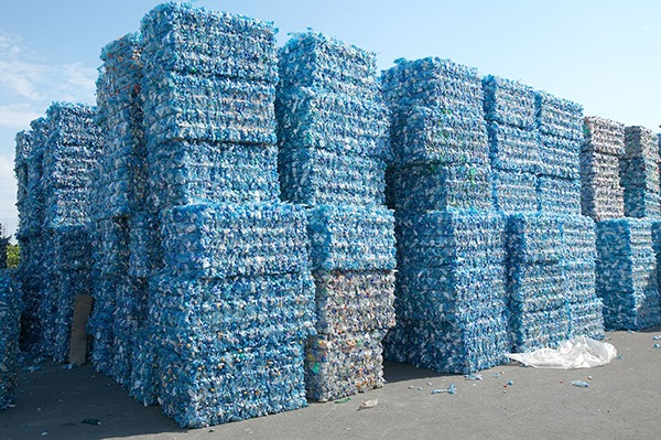 Plastic bottles baled for recycling