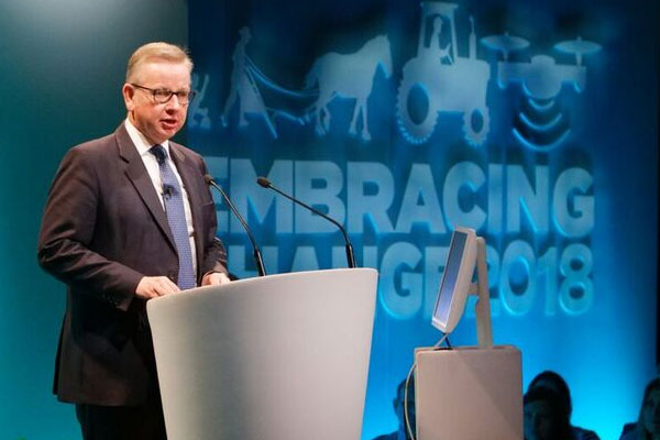 Michael Gove delivering speech. Photograph: Oxford Farming Conference