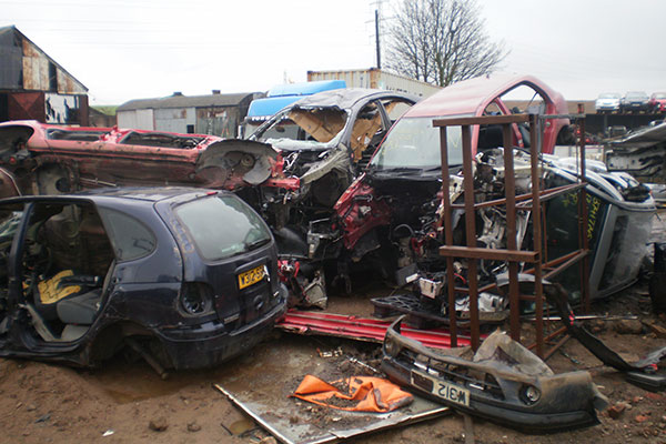 Cars in scrapyard. Photograph: Environment Agency