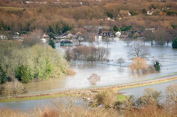 Flooded farmland and houses