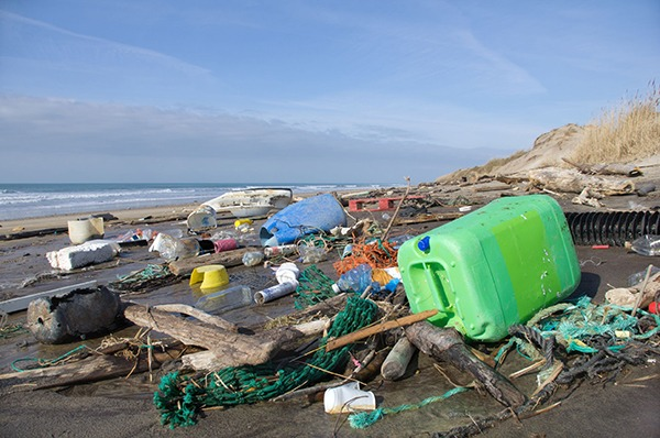 Plastic waste washed up on beach. Photograph: Fabien Monteil/123RF