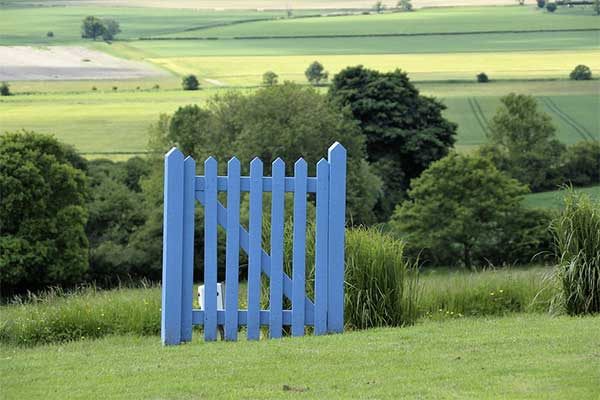 Blue gate in field. Photograph: Pixabay