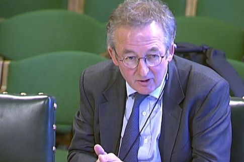 Dieter Helm speaking at BEIS committee. Photograph: Parliament TV