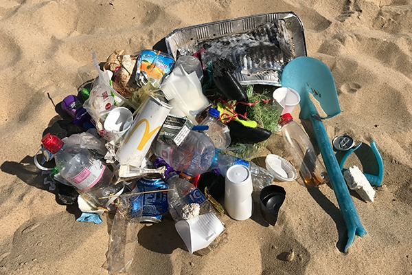 Pile of litter collected on a beach. Photograph: Karen Roe/Flickr