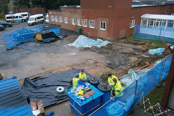 Cleanup operation at hospital site. Photograph: Environment Agency