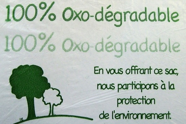 An oxo-plastic bag, banned in France since 2015