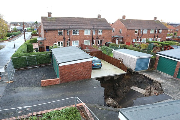 Subsidence underneath a residential driveway. Photograph: The Coal Authority